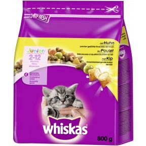 Whiskas Trockenfutter Junior (2-12 Monate) mit Huhn