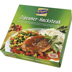 Wingert Foods Zigeuner-Hacksteak in einer Zigeungersauce mit Reis und Gemüse 480 g