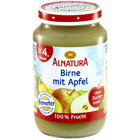 Alnatura Bio Birne mit Apfel, nach dem 4. Monat