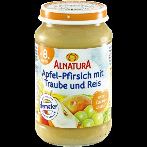 Alnatura Bio Apfel-Pfirsich mit Traube und Reis, ab dem 8. Monat