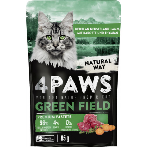 4 Paws Green Field Premium Pastete Neuseelandlamm, Karotte & Thymian 85G