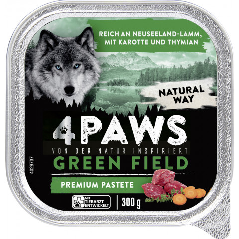 4 Paws Green Field Premium Pastete Neuseelandlamm, Karotte & Thymian 300G