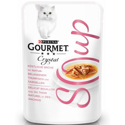 Purina Gourmet Crystal Soup mit naturbelassenen Thunfischfilets Katzenfutter nass 40 g