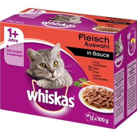 Whiskas 1+ Fleischauswahl in Sauce Katzenfutter nass Multipack