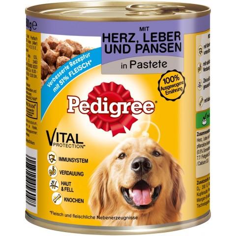 Pedigree Classic mit Herz, Leber & Pansen Hundefutter nass