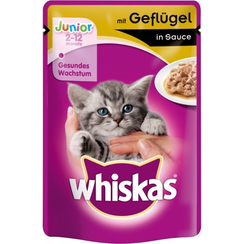 Whiskas Junior mit Geflügel in Sauce Katzenfutter nass Beutel