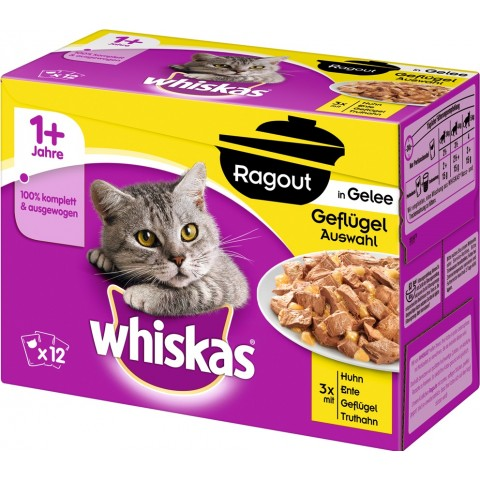 Whiskas 1+ Ragout in Gelee Geflügelauswahl Katzenfutter nass Multipack 12x 85 g