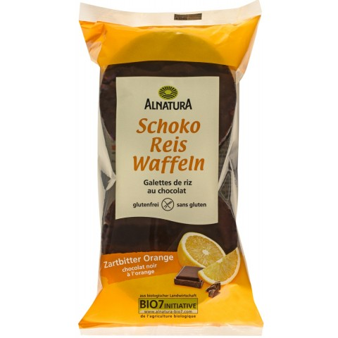 Alnatura Bio Schoko Reis Waffeln Zartbitter Orange