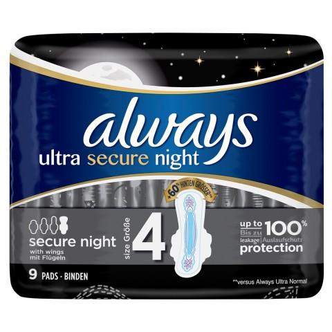 Always Binden Ultra Secure Night mit Flügeln Größe 4
