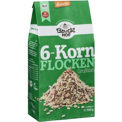 Bauckhof Demeter Bio 6-Korn-Flocken ohne Weizen 500g