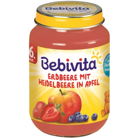 Bebivita Erdbeere mit Heidelbeere in Apfel ab 6. Monat