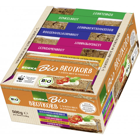 Bio EDEKA Brotkorb 5 Sorten Brot in Portionen 500g