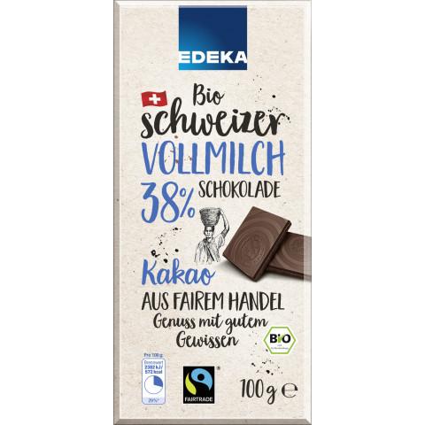 Edeka Bio Schweizer Vollmilch-Schokolade 38% Kakao Fairtrade 100 g