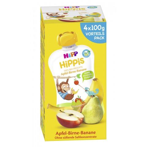 Hipp Bio Hippis Apfel-Birne-Banane Vorteilspack 4x 100 g