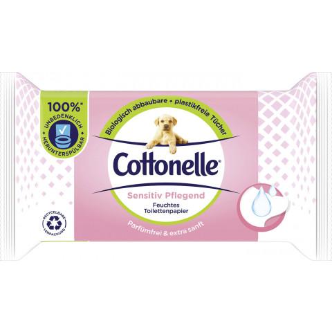 Cottonelle Feuchtes Toilettenpapier Sensitiv Pflegend Parfümfrei und Extra sanft NF 42ST