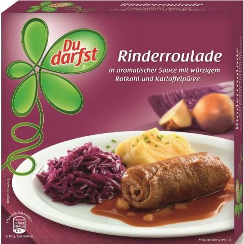 Du darfst Rinderroulade in aromatischer Sauce mit würzigem Rotkohl und Kartoffelpüree
