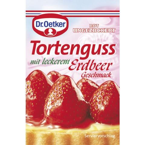 Dr.Oetker Tortenguss rot ungezuckert Erdbeer Geschmack
