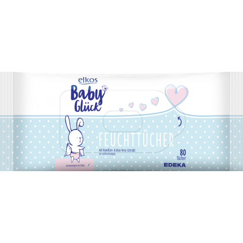 elkos Babyglück Feuchttücher mit Kamillen- und Aloe Vera-Extrakt 2x 80 Stück