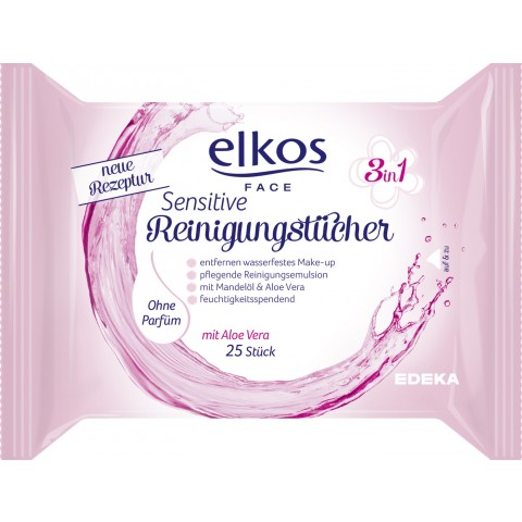 Elkos Face 3in1 Reinigungstücher sensitive 25 Stk
