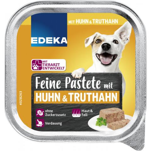 EDEKA Feine Pastete mit Huhn & Truthan Hundefutter nass 150G