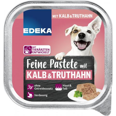 EDEKA Feine Pastete mit Kalb & Truthahn Hundefutter nass 150G