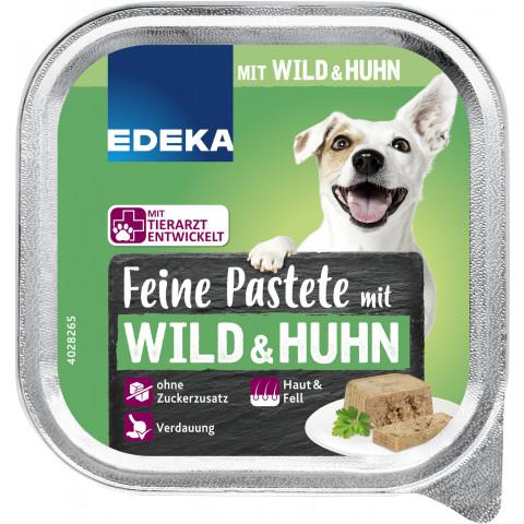 EDEKA Feine Pastete mit Wild & Huhn Hundefutter nass 150G