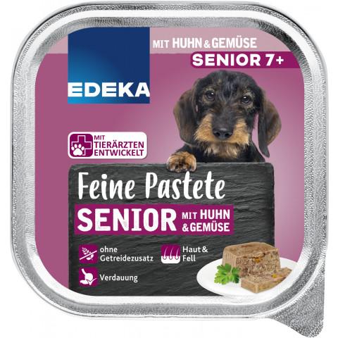 EDEKA Feine Pastete Senior mit Huhn & Gemüse Hundefutter nass 150G