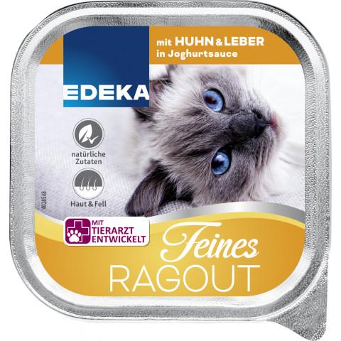 EDEKA Feines Ragout mit Huhn & Leber in Joghurtsauce Katzenfutter nass 100G