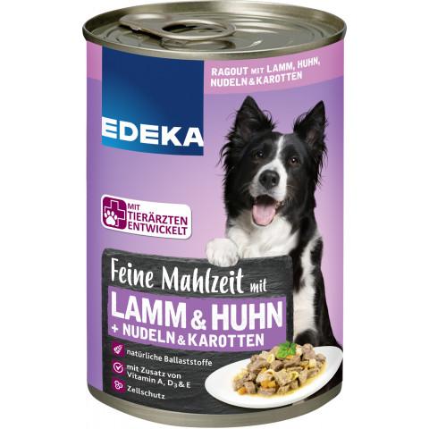 EDEKA Feine Mahlzeit mit Lamm, Huhn, Nudeln & Karotten Hundefutter nass 400G