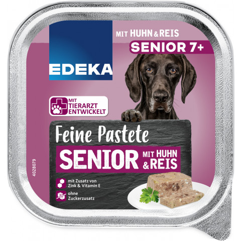 EDEKA Feine Pastete Senior 7+ mit Huhn & Reis Hundefutter nass 300G