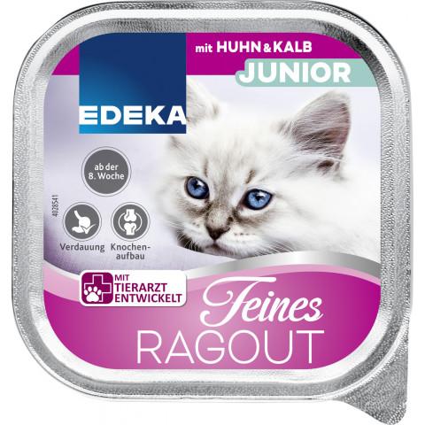 EDEKA Feines Ragout Junior mit Huhn & Kalb Katzenfutter nass 100G