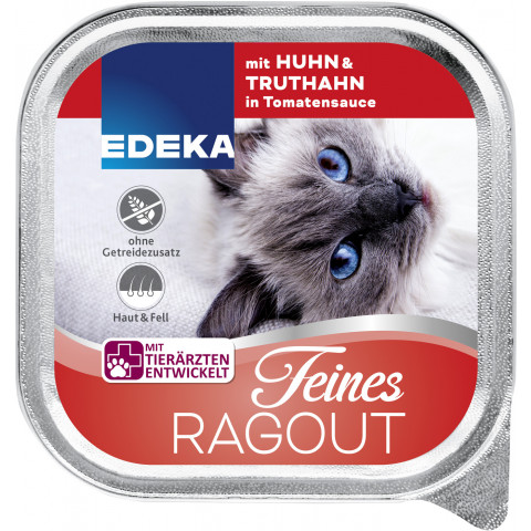 EDEKA Feines Ragout mit Huhn & Truthahn in Tomatensauce Katzenfutter nass 100G