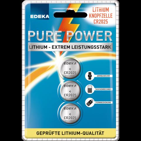 EDEKA Lithium Knopfzellen CR 2025