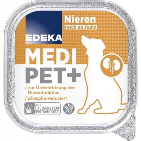 EDEKA Medi Pet+ Hund Niere reich an Huhn Hundefutter nass 150G
