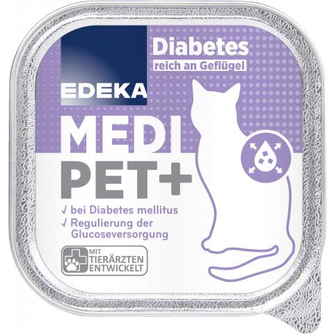 EDEKA Medi Pet+ Diabetes reich an Geflügel Katzenfutter nass 100G