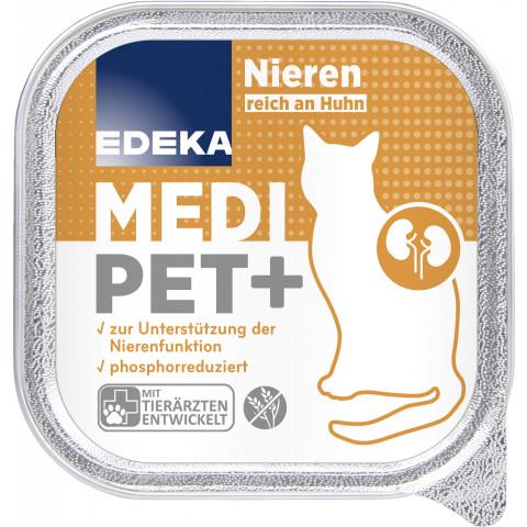 EDEKA Medi Pet+ Nieren reich an Huhn Katzenfutter nass 100G