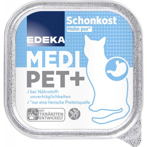 EDEKA Medi Pet+ Schonkost Huhn pur Katzenfutter nass 100G