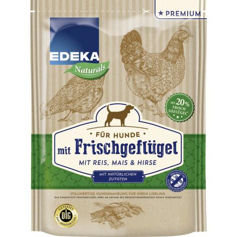 EDEKA Naturals Frischgeflügel mit Reis, Mais & Hirse Hundefutter trocken 1,5KG