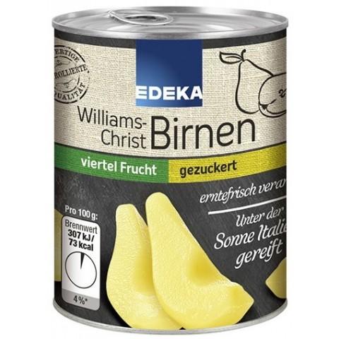 EDEKA Williams Christ Birnen gezuckert viertel Frucht 225 g