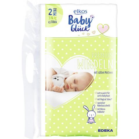 elkos Babyglück Windeln Größe 2 Mini 3-6 kg 45 Stück