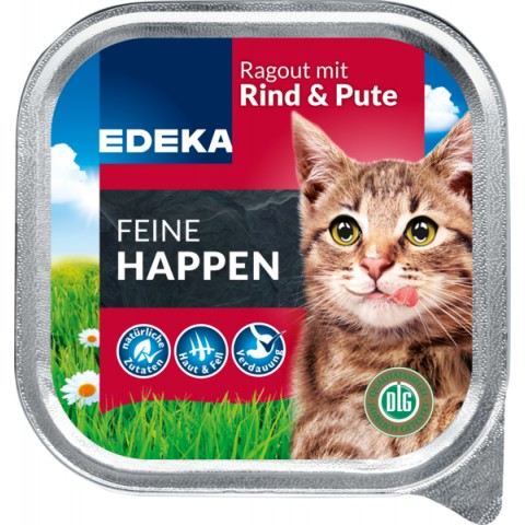 EDEKA Feine Happen Rind & Pute Katzenfutter nass 100 g