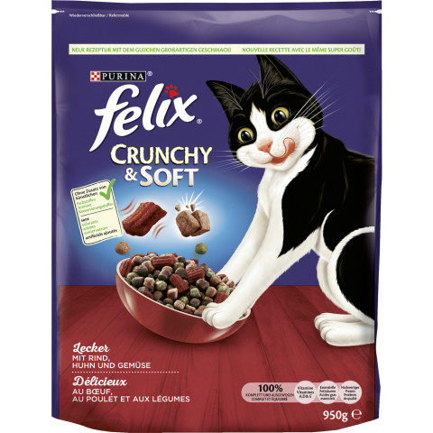Felix Crunchy & Soft mit Rind, Huhn und Gemüse Katzenfutter trocken  950 g