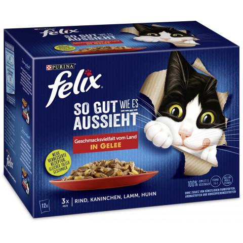 Felix So gut wie es aussieht Geschmacksvielfalt vom Land in Gelee Katzenfutter nass 12x 85 g