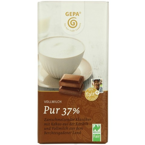 GEPA Bio Vollmilch pur 37% Kakao Schokolade 100 g