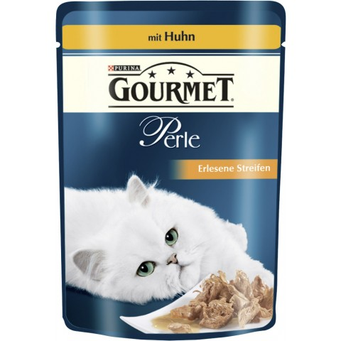 Purina Gourmet Perle Erlesene Streifen mit Huhn Katzenfutter nass 85 g