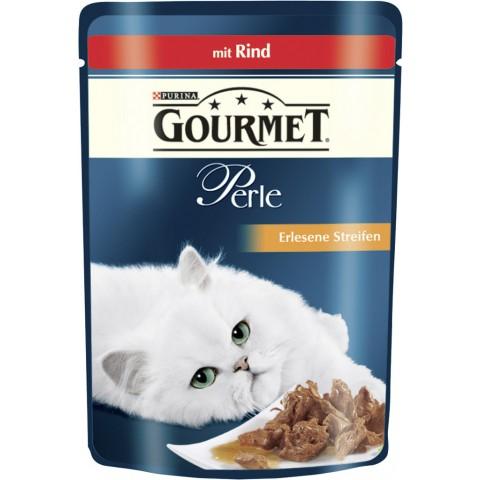 Purina Gourmet Perle Erlesene Streifen mit Rind Katzenfutter nass 85 g