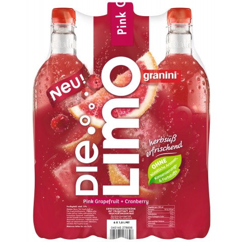 Granini Die Limo Pink Grapefruit+Cranberry 6x 1 ltr PET