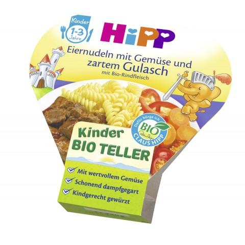 Hipp Bio Kinder Teller Eiernudeln mit Gemüse und zartem Gulasch ab 1 Jahr 250 g