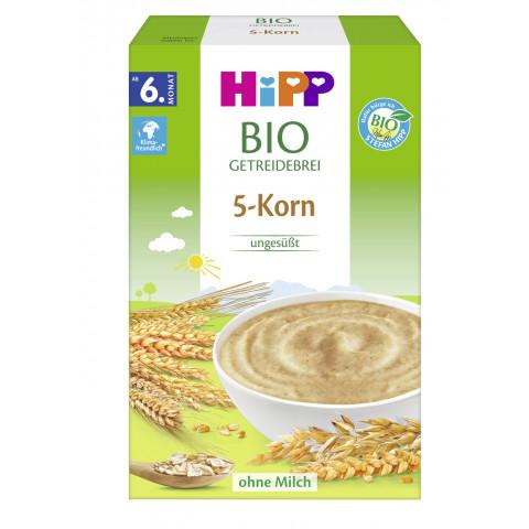 Hipp Bio Getreidebrei 5-Korn ungesüßt ab dem 6.Monat 200G
