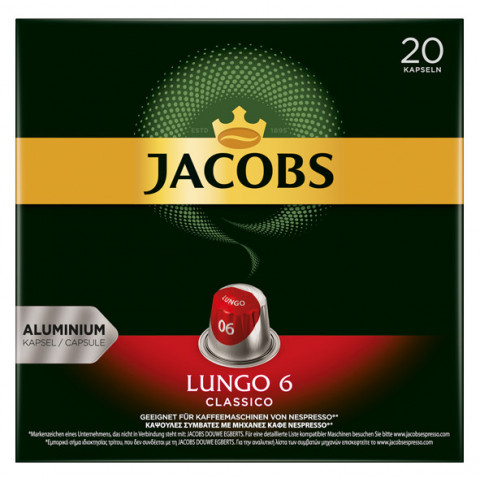 Jacobs Lungo Kapseln 6 Classico 20ST 104g
